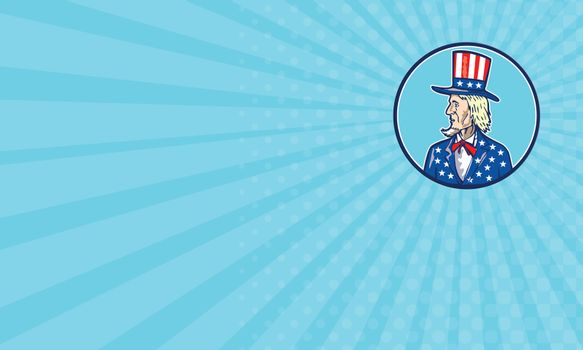 Business card Uncle Sam TopHat American Flag Cartoon