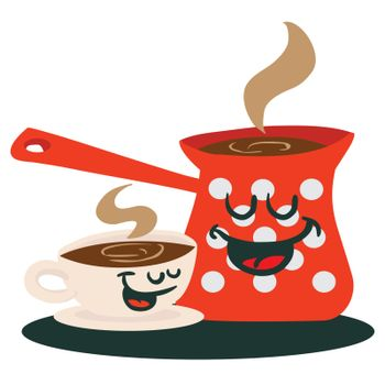 coffee pot and a cup talking