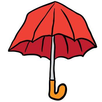 freehand drawn cartoon umbrella