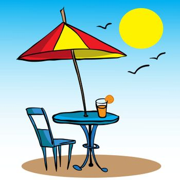 beach umbrella, table, chair and juice