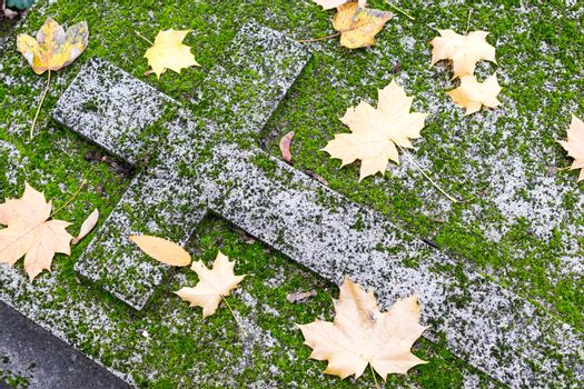 Christian grave in moss and autumn leaves.