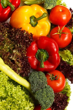 Fresh vegetables, top view