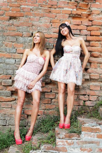 Two beautiful retro fashion girl posing on brick stairs in pink shoes
