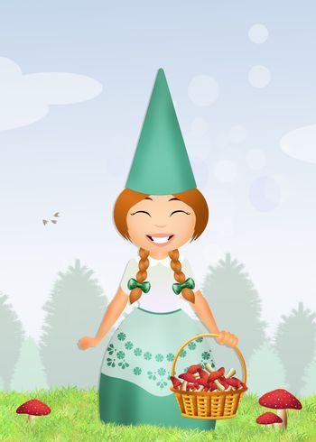 gnome with mushrooms in the forest