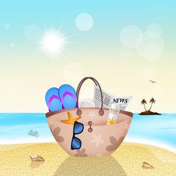 beach bag in summer