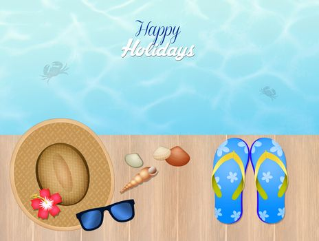 funny illustration of summer holidays