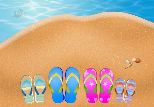 slipper for family on sand