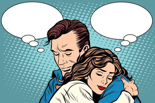 couple man and woman love hug pop art retro style. Retro people vector illustration. Feelings emotions romance