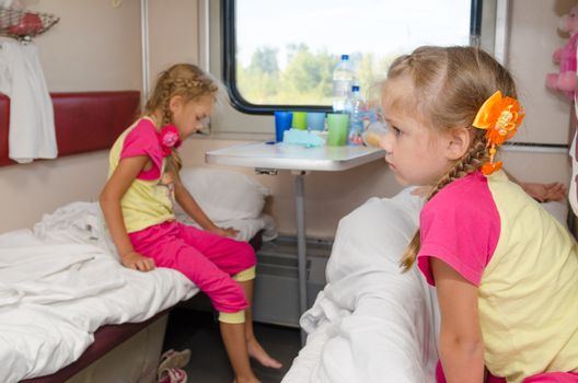 Two girls sisters on the train on the lower ground in the second-class compartment wagon