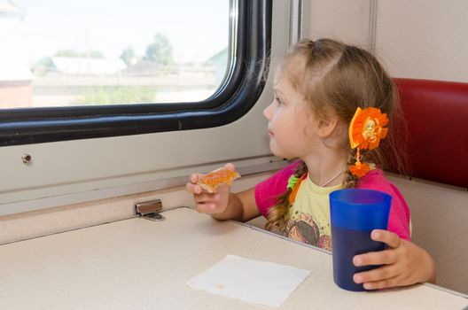 Little girl drinking tea with a sandwich on the train at the table on outboard second-class carriage and enthusiastically looking out the window
