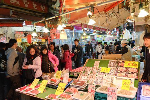 Fish shop in Ameyoko Street in Ueno