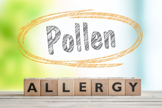 Pollen allergy headline with a wooden sign