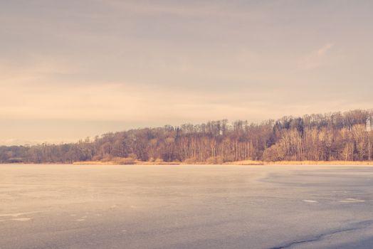 Frozen lake in Scandinavia