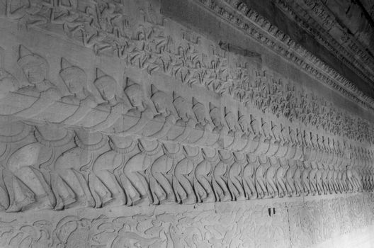 Ancient Khmer bas relief carving, Angkor Wat Temple
