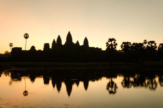 Silhouette of Angkor Wat temple in  Siem Reap