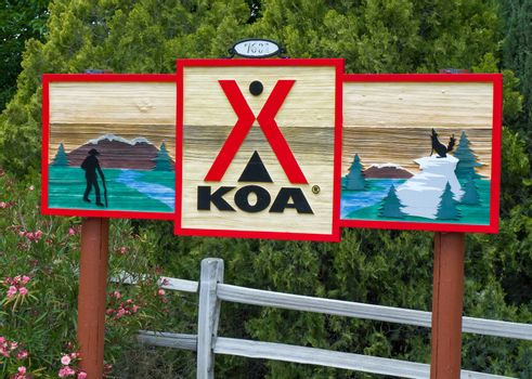 ACTON, CA/USA - MAY 7, 2016: KOA campground and sign. Kampgrounds of America is the world's largest system of privately held campgrounds in the USA and Canada.