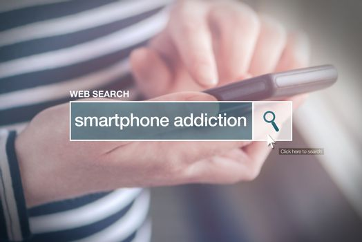 Web search bar glossary term - smartphone addiction