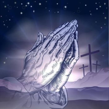 Christian Easter concept of three crosses on a hill and praying hands