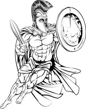 An illustration of a muscular strong Greek Spartan Warrior