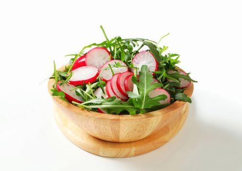 Salad greens with sliced radish
