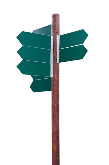 Blank crossroad signpost on white background