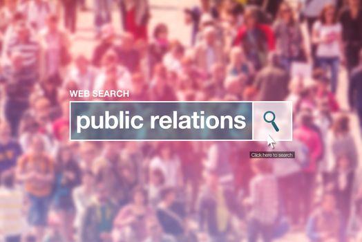 Public relations web search box