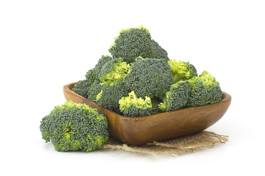 Raw broccoli in a bowl on white background