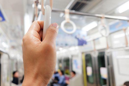 Handles in Subway Trains close up