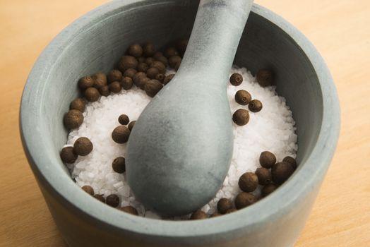 mortar pestle and salt