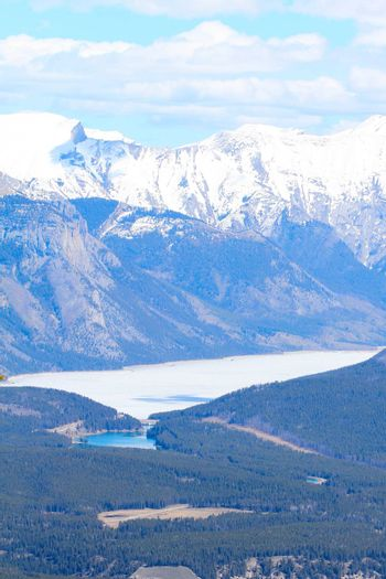 Rocky Mountains and lake view from Sulphur Mountain