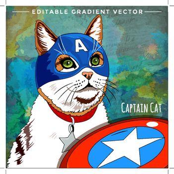 Cats superheroes. Cap America Cat