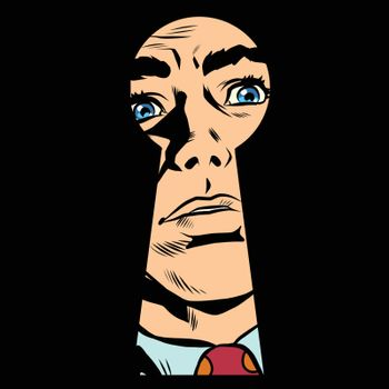 Male face in the keyhole, secret mystery