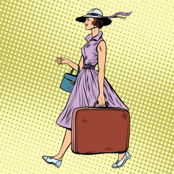 Woman traveler with suitcase