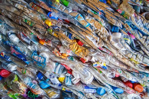 Stack of plastic bottles for recycling