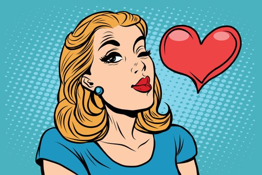Emoji retro heart love romance girl emoticons. Pop art vector illustration. Emoji woman. Emotions girl face. Retro Emoji girl