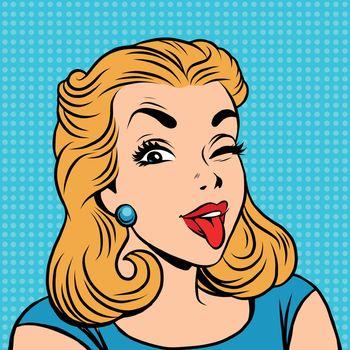 Emoji retro tongue girl emoticons