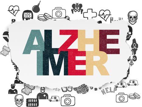 Medicine concept: Alzheimer on Torn Paper background