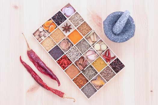 Types of spicy herbs with aromatic spices Was inserted in wood a