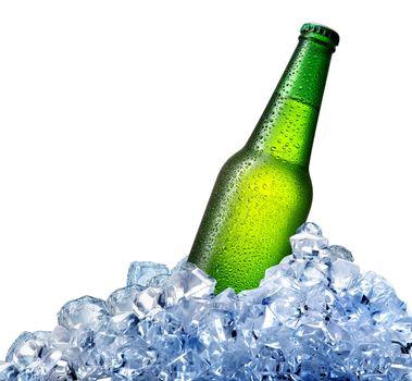 Beer bottle in ice