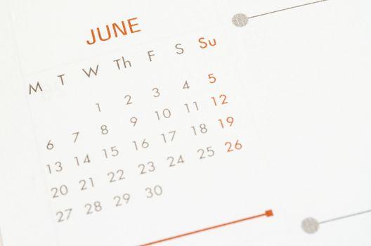 Calendar June seet.
