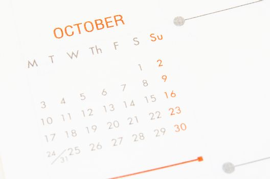 October page calendar.