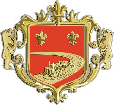 Steamboat Fleur De Lis Coat of Arms Retro