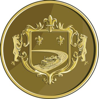 Steamboat Fleur De Lis Coat of Arms Medal Retro