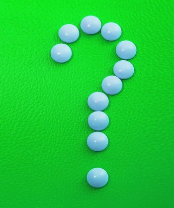 tablets, medicines and vitamins, EPS, question mark of pills