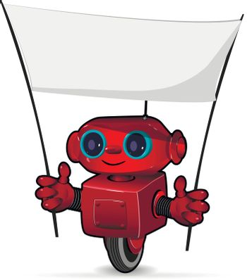 Illustration the red robot with a poster