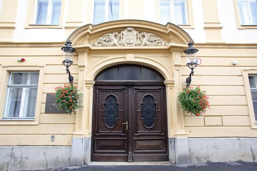 Entrance of City Hall in Upper town in Zagreb, Croatia