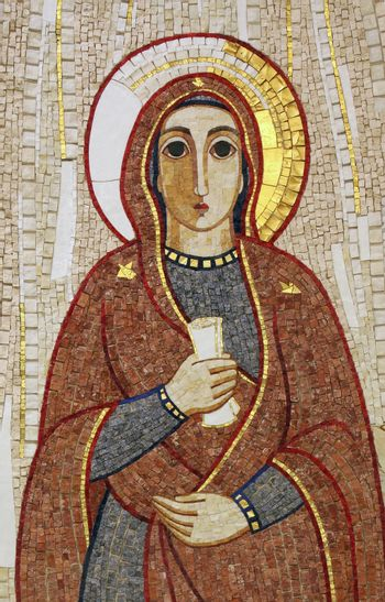 Virgin Mary, mosaic, Chapel in monastery of the Sisters of Charity of St. Vincent de Paul in Rijeka, Croatia on May 06, 2013