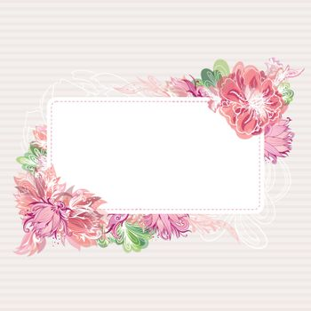 Beautiful card template with shabby chic peony, lily and lotus flowers with watercolor transparent effect for greeting and wedding design