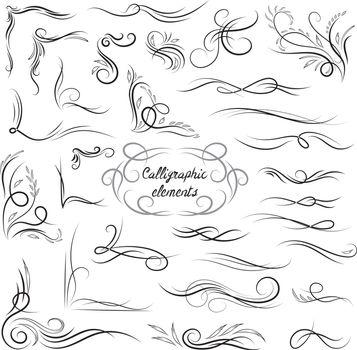 Elegant Vector Calligraphic Corners and Vignettes Set