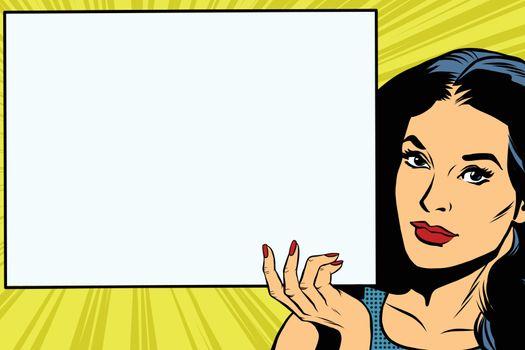 Brunette girl holding a blank rectangular poster